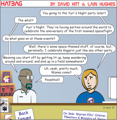 Hatbag by David Hitt and Lain Hughes comic strip hanging around yuri's night webcomic