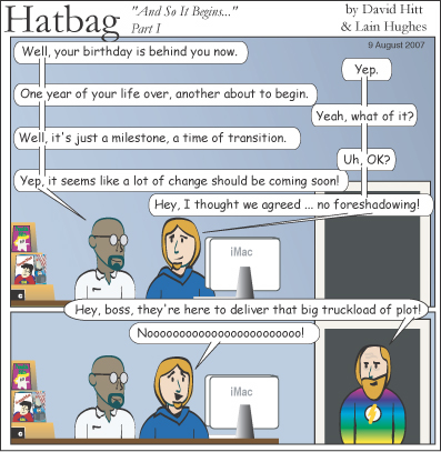 Hatbag by David Hitt and Lain Hughes comic strip and so it begins webcomic