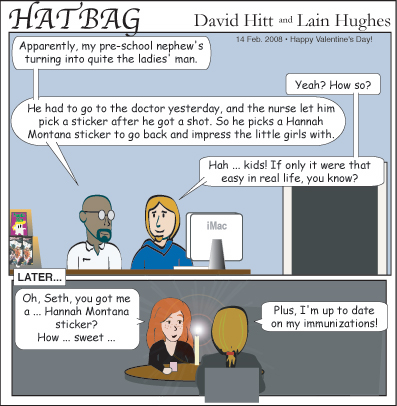 Hatbag by David Hitt and Lain Hughes comic and mileys to go before I sleep webcomic