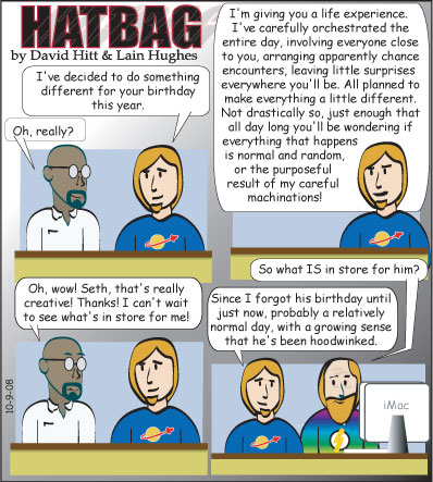 Hatbag by David Hitt and Lain Hughes comic game for a birthday webcomic