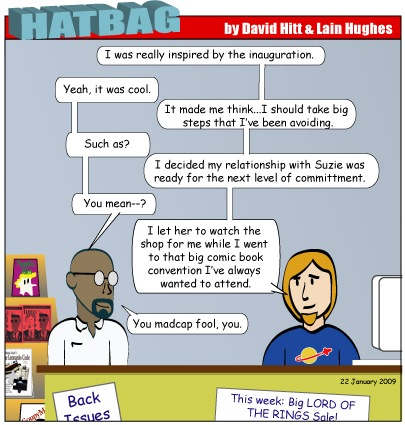 Hatbag by David Hitt and Lain Hughes comic Are We Not Drawn Onward, We Few, Drawn Onward To New Era webcomic