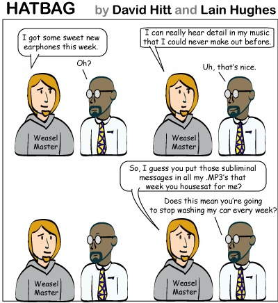 Hatbag by David Hitt and Lain Hughes comic now hear this webcomic