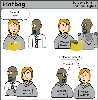 Hatbag by David Hitt and Lain Hughes comic strip six words six words all the way from Canada webcomic