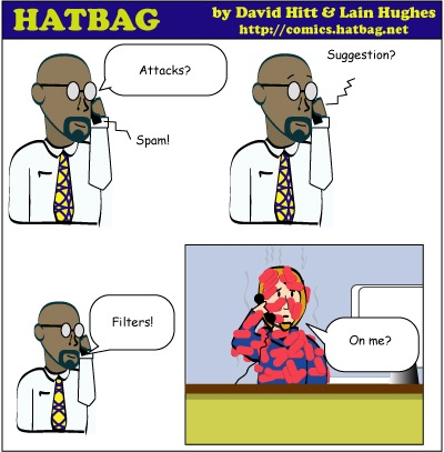 Hatbag by David Hitt and Lain Hughes comic strip six words Sp4mmity Sp4m Sp4m webcomic