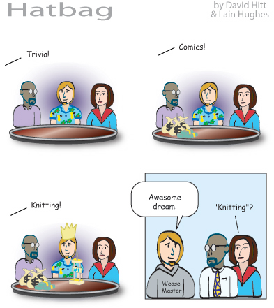 Hatbag by David Hitt and Lain Hughes comic strip six words trivial pursuits webcomic