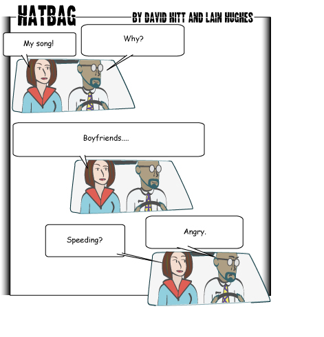 Hatbag by David Hitt and Lain Hughes comic strip six words zoooming past webcomic