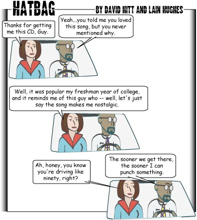 Hatbag by David Hitt and Lain Hughes comic strip zooming past webcomic